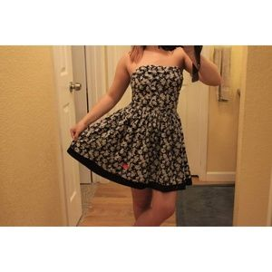 SUPERDRY FLORAL, NAVY BLUE STRAPLESS DRESS